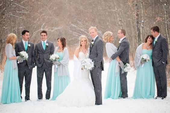 A winter wedding on the first snow fall of the season in a palette of Tiffany blue and silver | Crown Photography: crownphotography.ca: