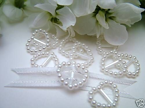 Ivory//Wedding//Cardmaking 50 Pearl Ribbon Buckles//Sliders Heart Shaped