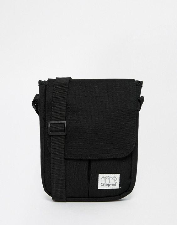 Flugtasche von Spiral Obermaterial aus Leinen Umschlagverschluss oben mit Außentasche Reißverschlusstasche hinten mit verstellbarem Träger mit einem feuchten Schwamm abwischen 100% Polyester H: 23 cm/9 Zoll, B: 17 cm/7 Zoll, T: 3,5 cm/1 Zoll