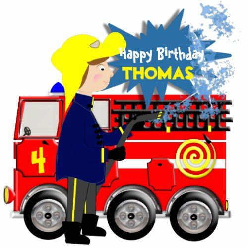 Cute Fire Fighter Truck Theme Cartoon Cutout Zazzle Com With