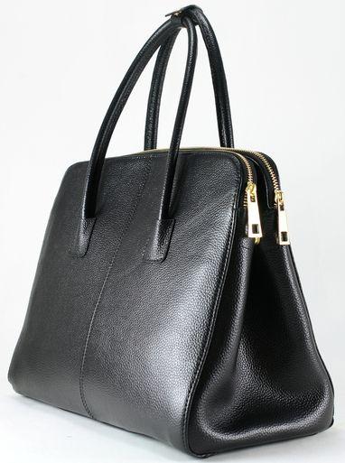 Muska Saffiano Twin Pocket Satchel Bag,Black(nero) - Muska Milano