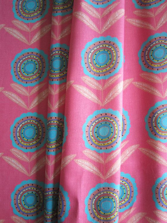 Big Daisy Pink Turq 45cms- Medium-Pink and Turquoise Curtain ...