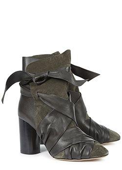 Isabel Marant wrap boots in dark green. Also in black at Harvey Nichols Knightsbridge now.