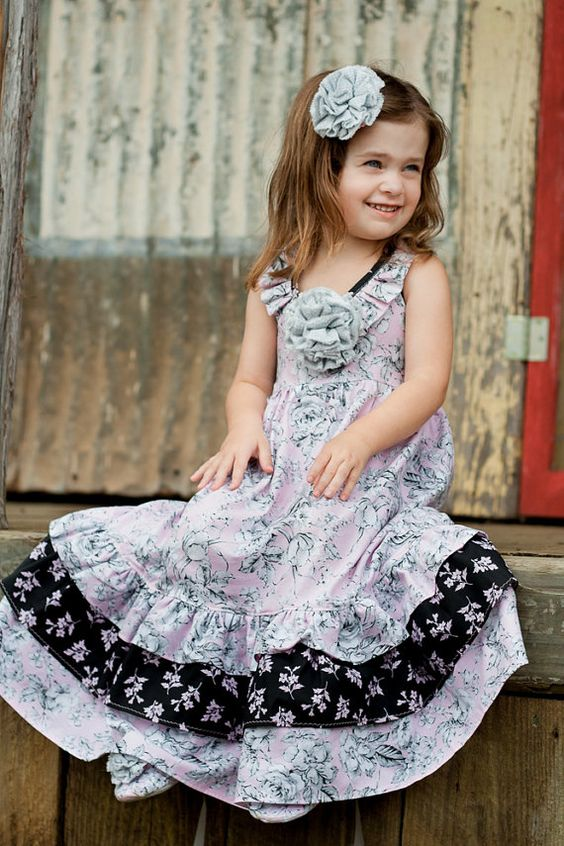 Little Girls Maxi Dress in Lovely Ruffles by pinkmouse on Etsy ...