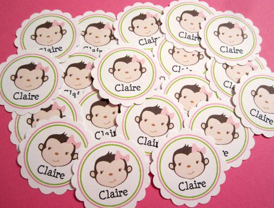 Personalized Name Monkey Confetti Birthday by SweetPaperSprinkles, $1.95