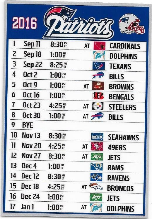 NEW, THE NEW ENGLAND PATRIOTS 2016 SCHEDULE FRIDGE MAGNET #NewEnglandPatriots