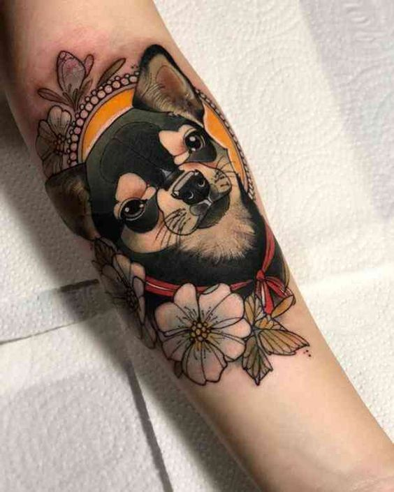 Neo Traditional Dog Portrait Tattoo On The Arm Www Otziapp Com Traditional Tattoo Dog Traditional Tattoo Dog Tattoos