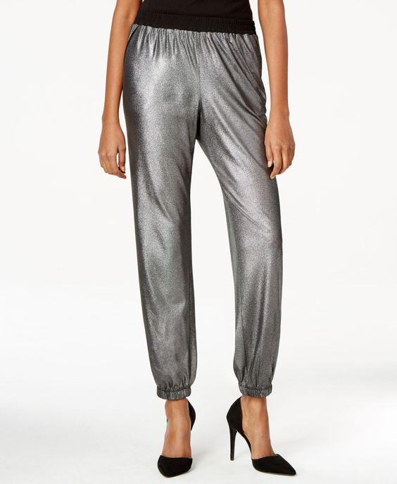 Ny Collection Metallic Jogger Pants