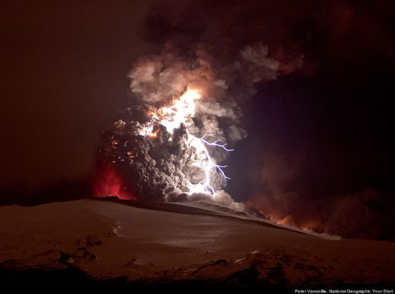 National Geographic's amazing photos of a lightning explosion over an Iceland volcano