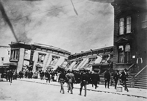 San Francisco residents were abruptly awakened one spring morning by an earthquake that lasted no more than a minute, but set off a chain of events that caused the city to burn for four straight days. The estimated 7.7- to 7.9-magnitude temblor not only broke natural gas mains, which sparked the fires, but also damaged water mains, leaving the fire department with limited resources to battle the blaze. By the time the fires were doused, flames had devoured more than 500 city blocks.