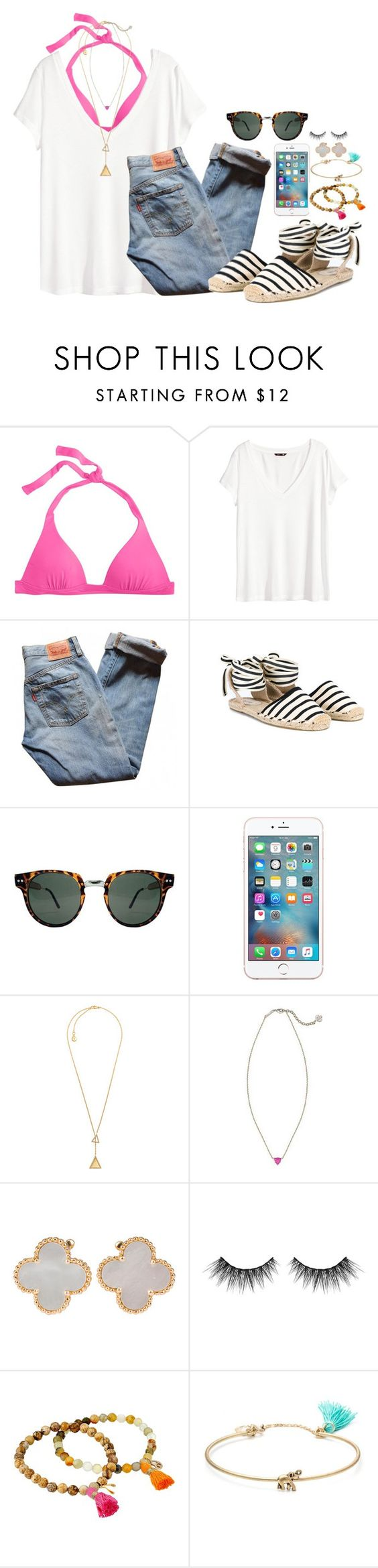 """""""headed to cheer"""" by molliekatemcc ❤ liked on Polyvore featuring J.Crew, H&M, Levi's, Soludos, Michael Kors, Kendra Scott, Van Cleef & Arpels, Dee Berkley and Lonna & Lilly"""