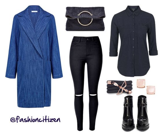 """""""shades of blue for a rainy day"""" by fashioncitizen ❤ liked on Polyvore featuring WithChic, Atea Oceanie, Victoria Beckham, Topshop, Monza, Kate Spade and Prada"""