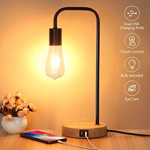 Touch Control Table Lamp Usb Desk Lamp 3 Way Dimmable Modern Nightstand Lamp With Two Usb C Touch Table Lamps Nightstand Lamp Modern Nightstand Lamps