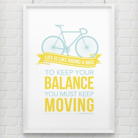 'Keep,Your,Balance',Bike,Print,bicycle, poster, print, typography, albert einstein, doodlelove