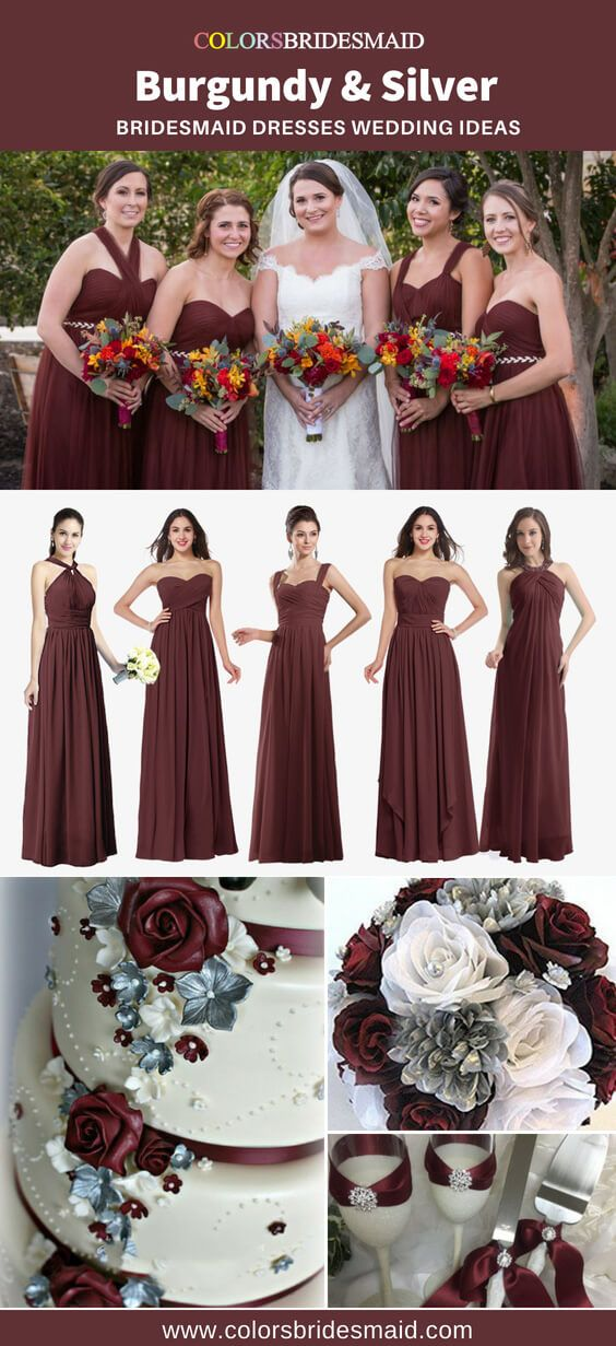Top 5 Picks For Burgundy And Silver Bridesmaid Dresses Burgundy Wedding Burgundy Silver Wedding Burgundy Wedding Colors