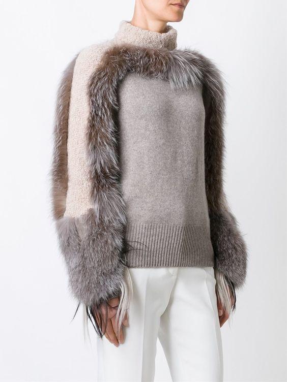 Agnona cashmere fur detail jumper