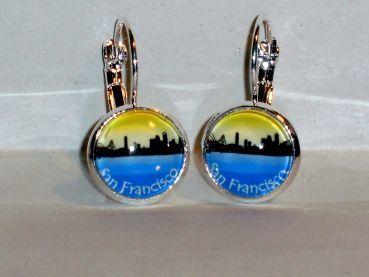 Ohrringe Skyline San Francisco Metall Legierung Glas Modeschmuck Damen Hänger Neuware