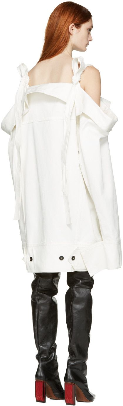 Matthew Adams Dolan - White Denim Falling Cuff Off-the-Shoulder Jacket