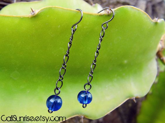 Take a look at our Stunung Glass Collection! Blue Glass & Gun Metal Chain Earrings  Beautiful by CaliSunrise, $6.00