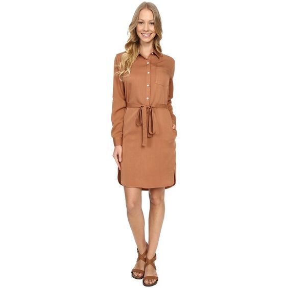 United By Blue Banbury Tencel Dress (Tan) Women's Dress (6680 ALL) ❤ liked on Polyvore featuring dresses, tan, button shirt dress, long shirt dress, long sleeve dress, beige long sleeve dress and high low dresses