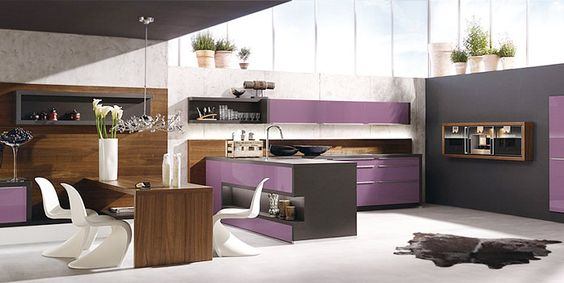 New kitchen in purple and white