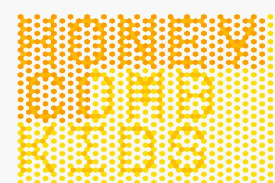 Hext is a geometric display face. When used in blocks of type it forms a repeating pattern of the interlocking hexagons. Use it for unique headlines or single characters. Create simple patterns or more complex creations by stacking letterforms and mixing colours. Experiment and have fun. Created in 2012 by Jeff King.
