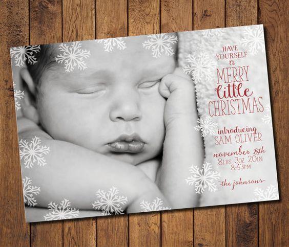 Merry little Christmas -Christmas Birth Announcement Custom by SimplyExtravagantInv