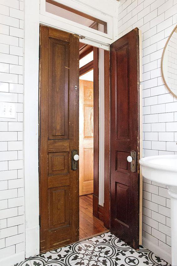 20 Vintage Bathroom Door Design Ideas From Wood Wood Doors Interior Wooden Doors Interior French Doors Interior