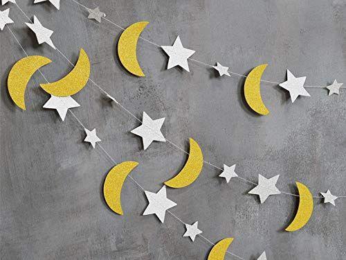 Amazon.com: Moon and Stars GarlandStar and Moon DecorationsMoon