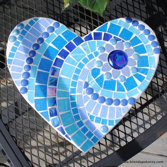 Aegean Sea Mosaic Heart Stepping Stone  MOO5051 by brendapokorny