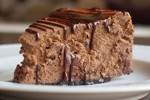 Chocolate Cheesecake with Kahlua Sauce