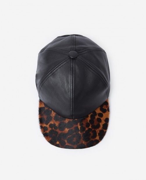 a93b61e29f2eb Leather cap with pony-effect brim and leopard print