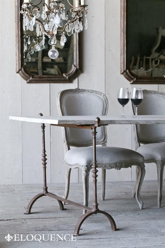 Eloquence St. Remy Trestle Dining Table in #FrenchCountry dining room with elegant chandelier, mirror, and #romanticdecor