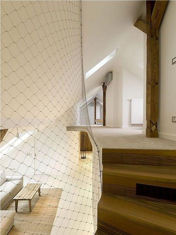 Cierre barandilla altillo escaleras planta alta red malla metálica ...