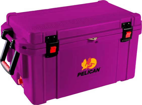 "65 Quart Purple Cooler: The quality you've come to expect from Pelican now also matches your favorite things in life! Don't worry about your tailgaiting grub getting too warm or your team's water bottles not staying cold enough. Up to 10 days ice retention*, freezer grade gasket, 2"" polyurethane insulation, Guaranteed for life, Assembled in the USA, Bear resistant certified from the Interagency Grizzly Bear Committee."