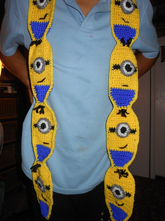 Crocheted Minion Scarf: Free pattern available Cuddly ...