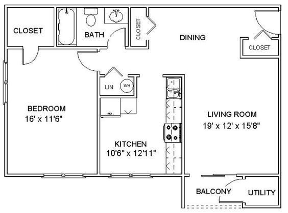 This Is A Nice Simple Floor Plan For A One Bedroom