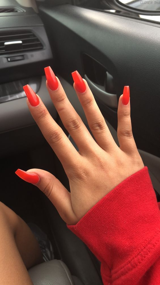 Acrylic Orange Coffin Nails Designs Are So Perfect For Fall Hope They Can Inspire You And Read The Article To Get The Gallery Orangecof Orange Acrylic Nails Wedding Nails Design Red