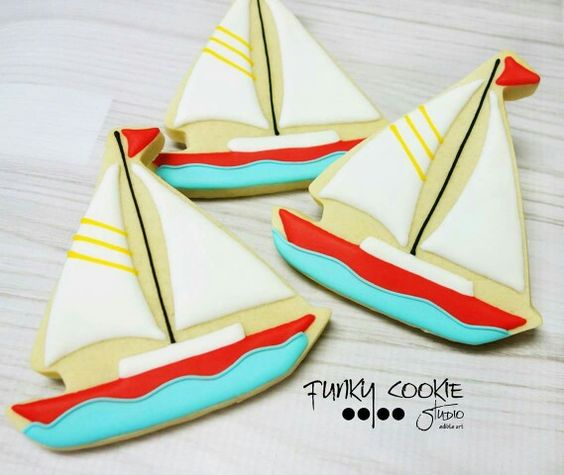 Sailboat cookies by Funky Cookie Studio