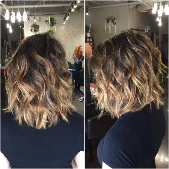 Brown Balayage Ombré Hairstyles with Curly Hair , Shoulder Length Haircut Ideas 2017