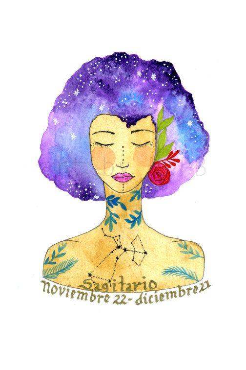 Sagittarius girl. Art print by Toshisworld on Etsy