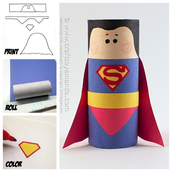 Make a fun Superman craft from a recycled cardboard tube and construction paper! A free pattern is included at Crafts by Amanda.