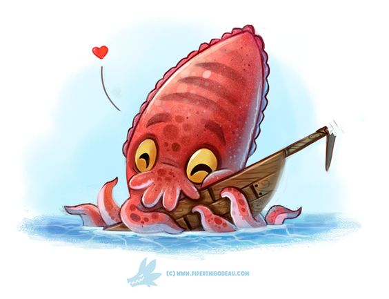 Daily Paint #1274. Cuddlefish by Cryptid-Creations.deviantart.com on @DeviantArt