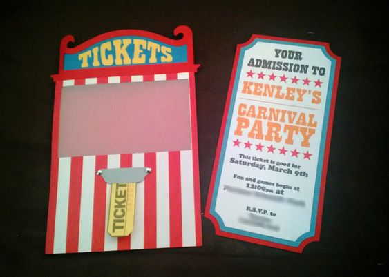 Carnival invites, ticket booth cutouts, carnival svg, birthday ...