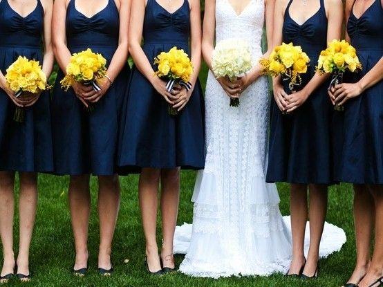 casamento azul e amarelo madrinhas - Pesquisa Google