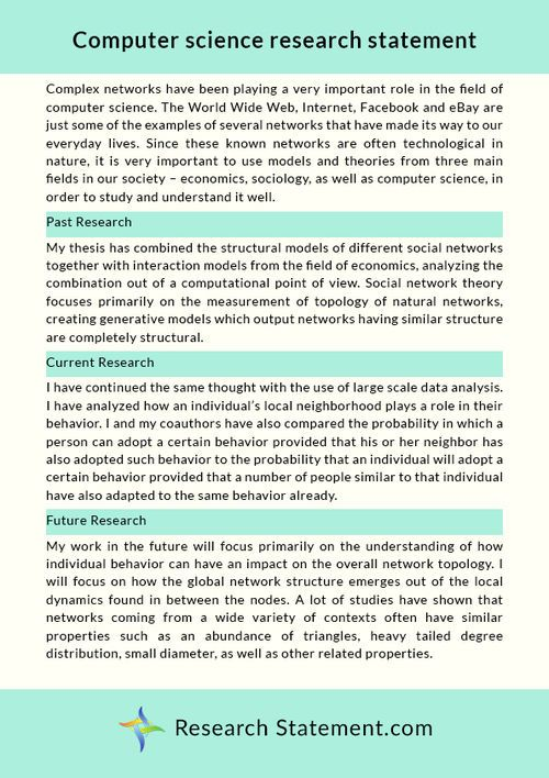 Computer Science Research Statement Sample  Science