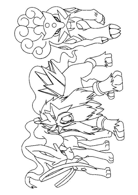 Trois Pokémons légendaire : Raikou, Entei et Suicine à colorier