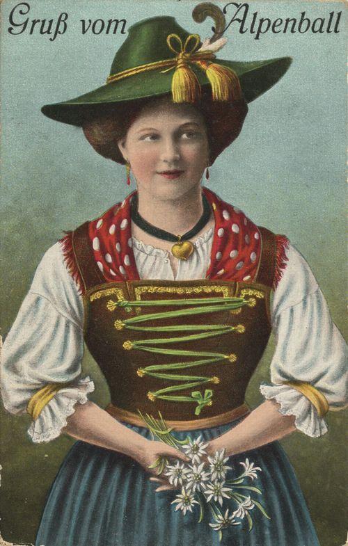 Gruß vom Alpenball II, Bayern, Deutschland, Postkarte, ca. 1900