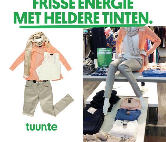 Tuunte's frisse twist.  Met heerlijke lichte kleuren een speelse outfit samenstellen. In onze winkels vind je nieuwe artikelen die de lente ademen. Én die zich, nu het nog wat kouder is, verrassend goed laten combineren met een wollig wintervest. Zalmroze, helder blauw én ecru die passen bij een nieuw gevoel.  http://www.tuunte-fashion.nl/