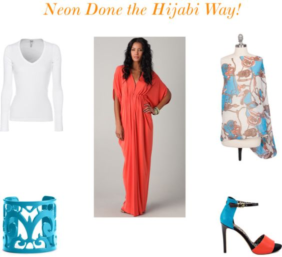 """Neon Done the Hijabi Way"" by kez-iah on Polyvore"